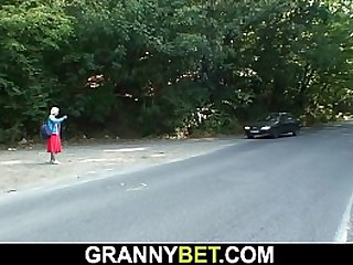 70 years old blonde granny picked up and fucked