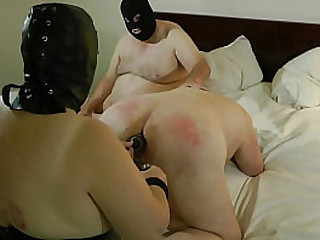Granny playing switch opening a slave ass
