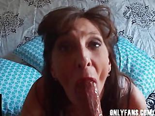 Sexy Dark Haired Granny Sucks A Fat Veiny Cock