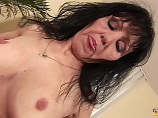 skinny saggy tit granny masturbating with a big dildo