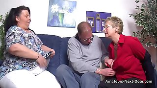 Thick thighed BBW joins in with mature couple